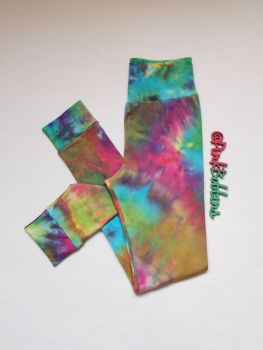 Tie dye effect leggings with optional bow cuffs - made to order