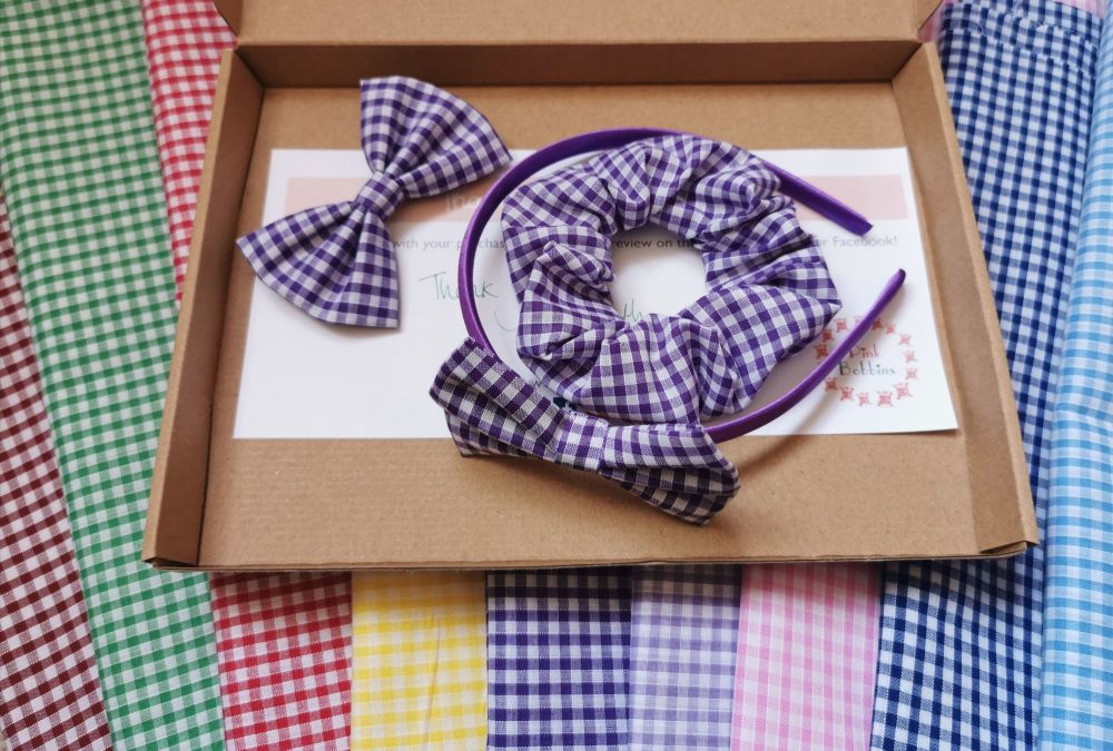 Gingham school hair accessory bundle