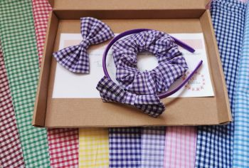 Gingham school hair accessory bundle - made to order
