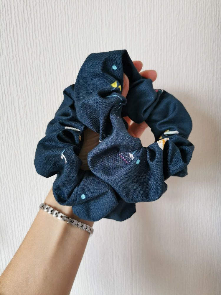 Petrol blue floral scrunchie *LAST ONES (large)* - in stock