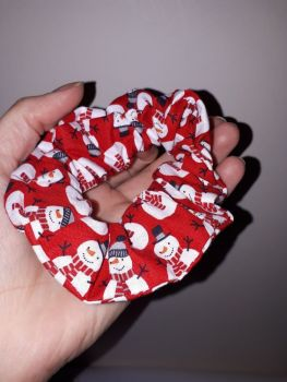 Red snowman scrunchie - made to order