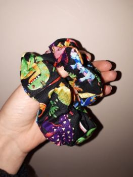 Dinosaur (black) scrunchie - made to order