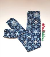 Snowflake leggings on navy with optional bow cuffs - made to order