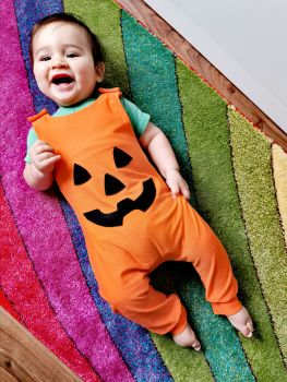 Pumpkin face romper - long leg - 6-12 months - in stock