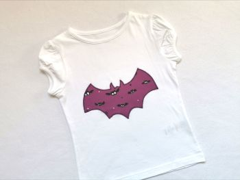 Halloween bat t-shirt - girls cap sleeved top style *LAST ONE* - 3-4 years - in stock