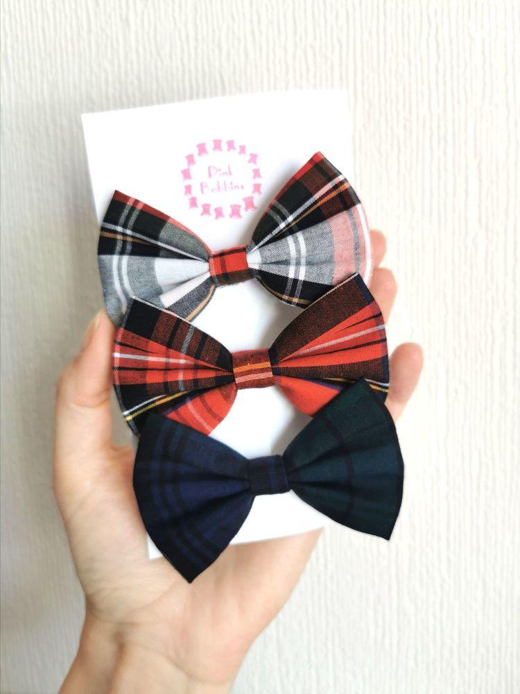 Tartan hair bow set - made to order