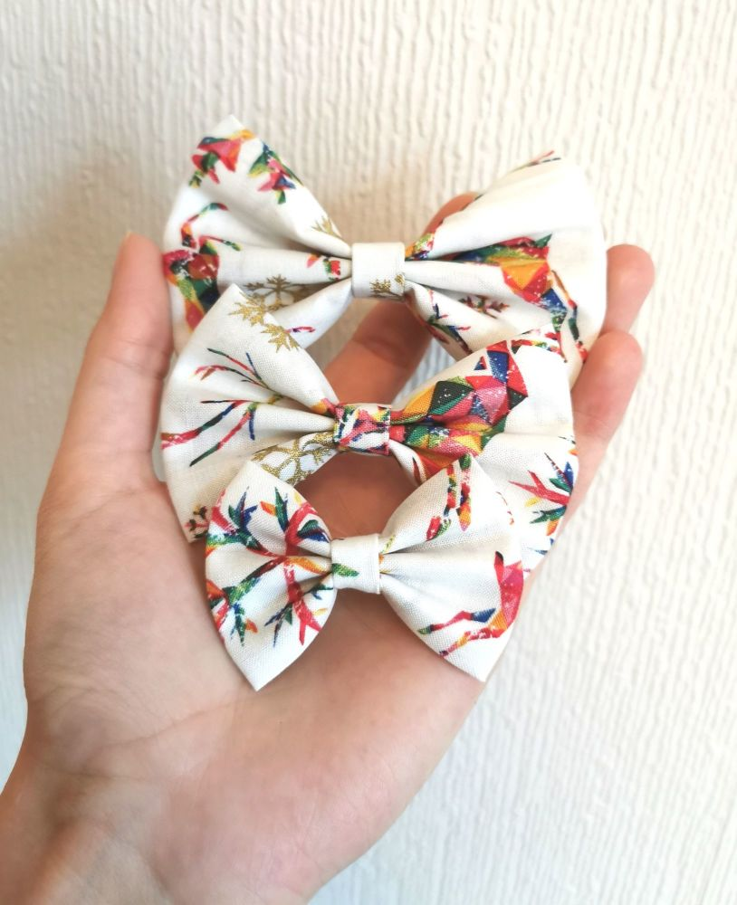 Rainbow reindeer/snowflake hair bow - mini, midi or large size - made to or