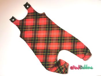 Tartan jersey romper - short or long leg - made to order
