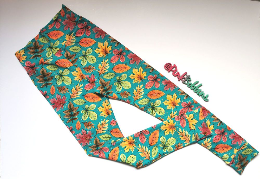 Leaf leggings with optional bow cuffs - made to order