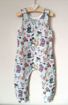Alice in Wonderland jersey romper - short or long leg - made to order