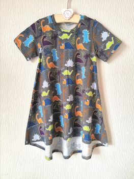 Grey dinosaur t-shirt dress - in stock