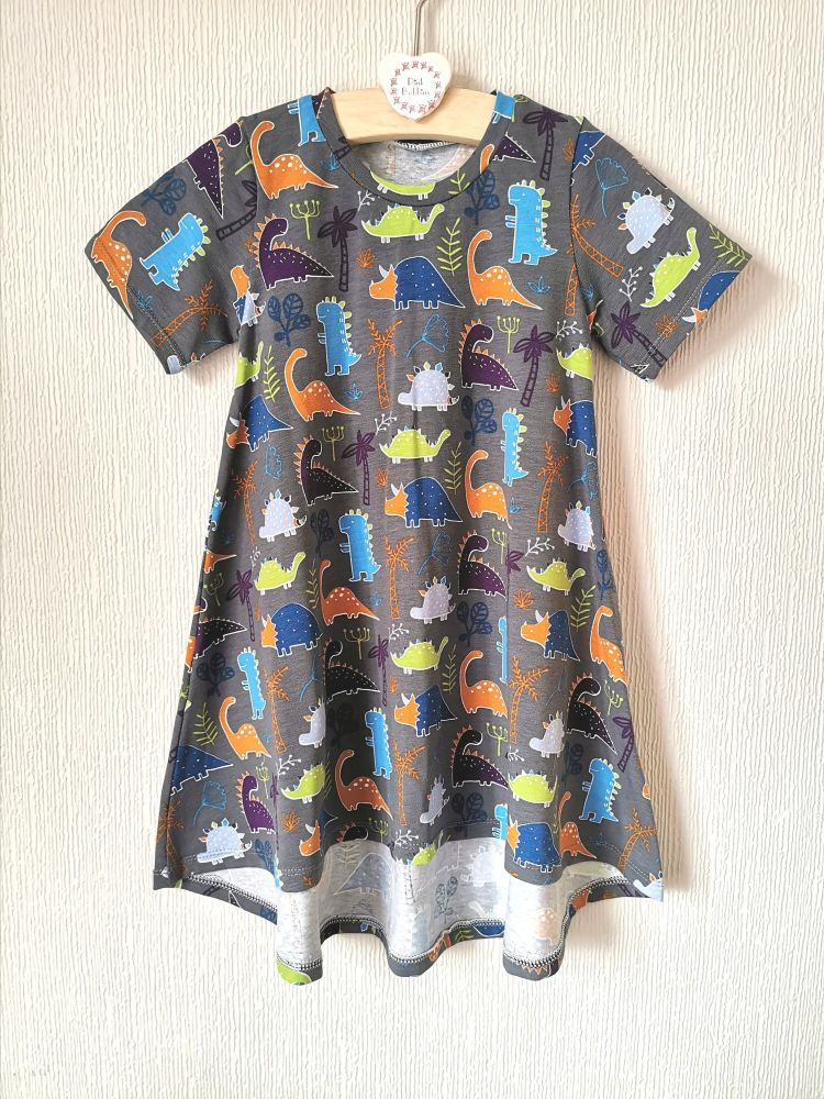 Grey dinosaur t-shirt dress - in stock