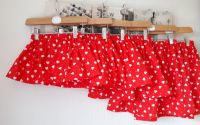 Love heart skirt on red - made to order