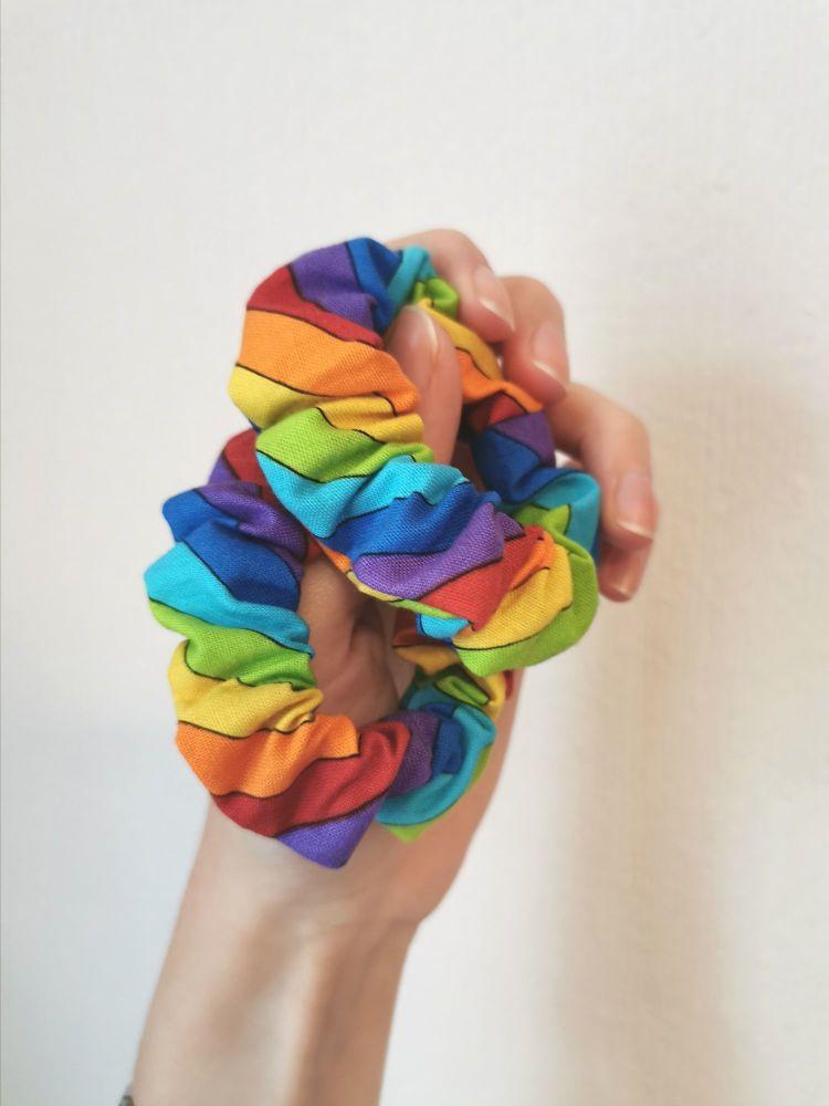 Rainbow stripe scrunchie - in stock