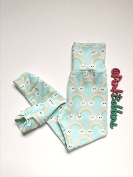 Kawaii rainbow leggings with optional bow cuffs [exclusive design] - made to order