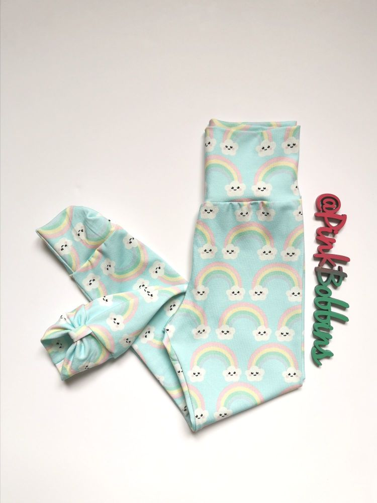 Kawaii rainbow leggings with optional bow cuffs [exclusive design] - made t