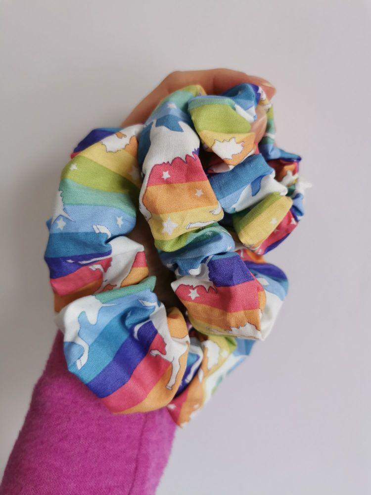Rainbow unicorn scrunchie - made to order