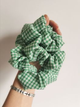Green gingham scrunchie - made to order