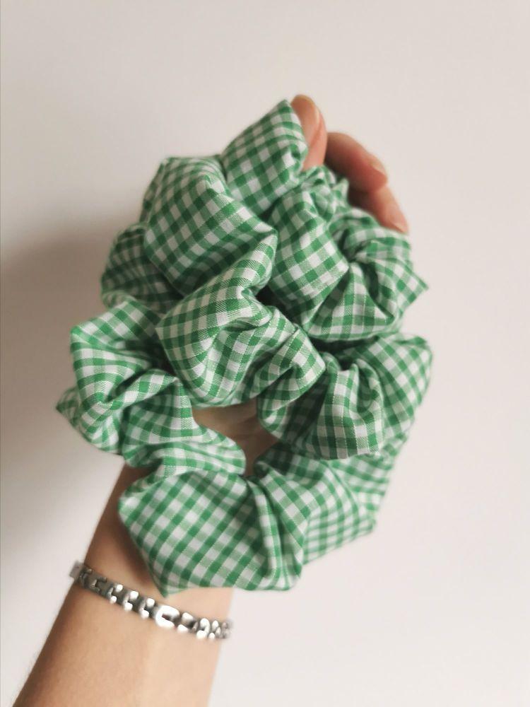 Green gingham scrunchie - in stock