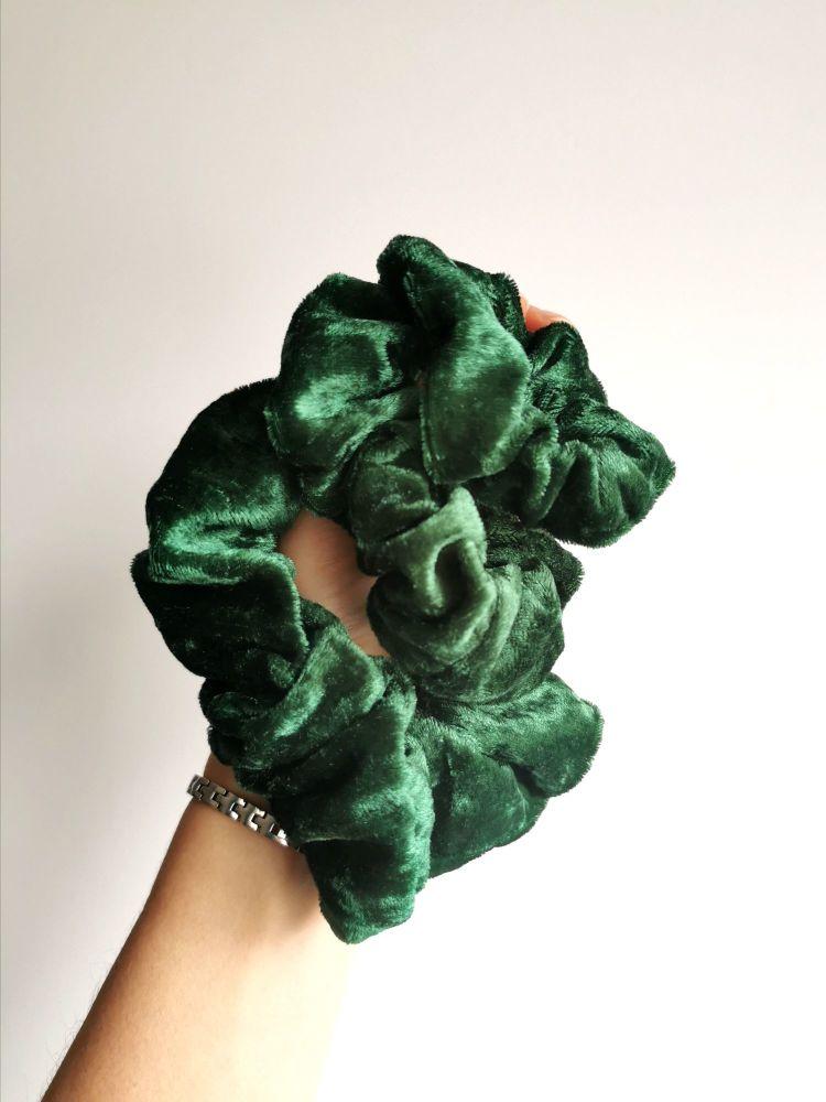 Green velour scrunchie - in stock