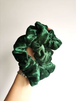 Green velour scrunchie - made to order
