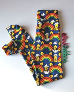Rainbow chick (Easter) leggings with optional bow cuffs - made to order
