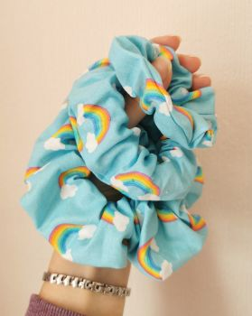 Rainbows on blue scrunchie - in stock