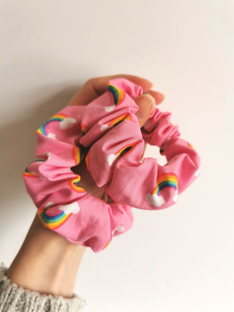 Rainbows on pink scrunchie - in stock