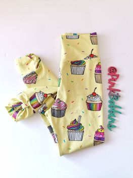 Cupcake leggings with optional bow cuffs [organic] - made to order