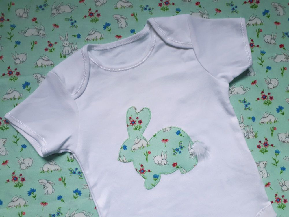 Bunny rabbit vest (mint green with fluffy tail) - in stock