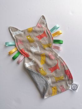 Kitty - cat tag comforter - in stock - silver plush