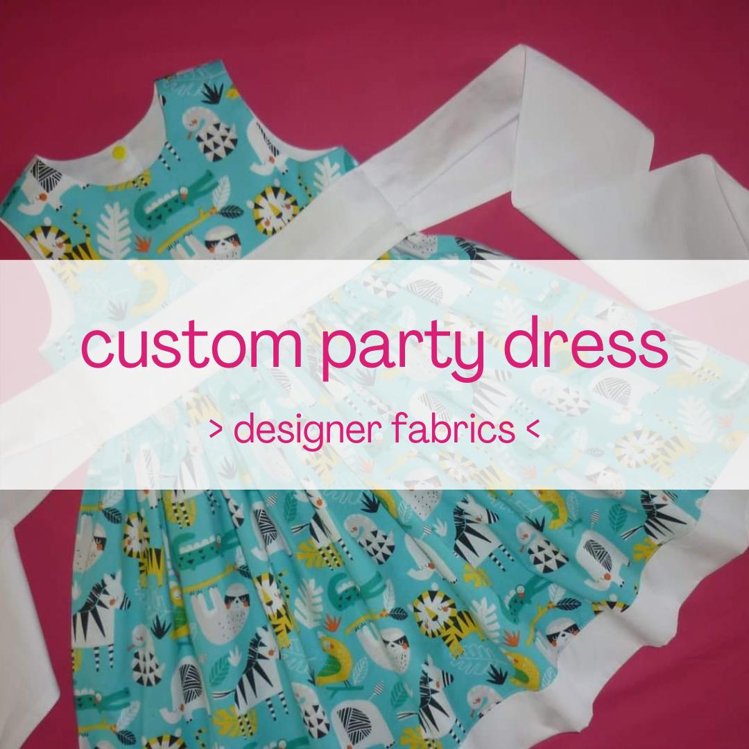 Custom party dress (designer fabrics)