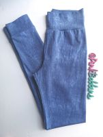 Denim-look leggings with optional bow cuffs - made to order