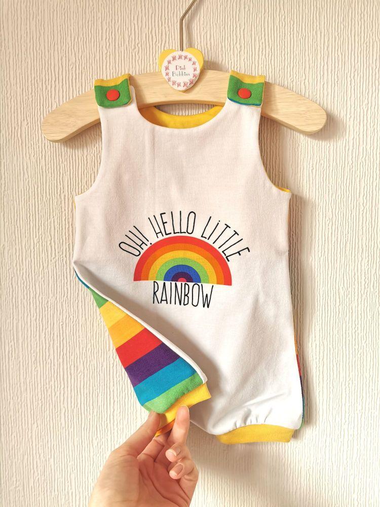 Oh! Hello little rainbow baby jersey romper - short leg - in stock - NEWBOR