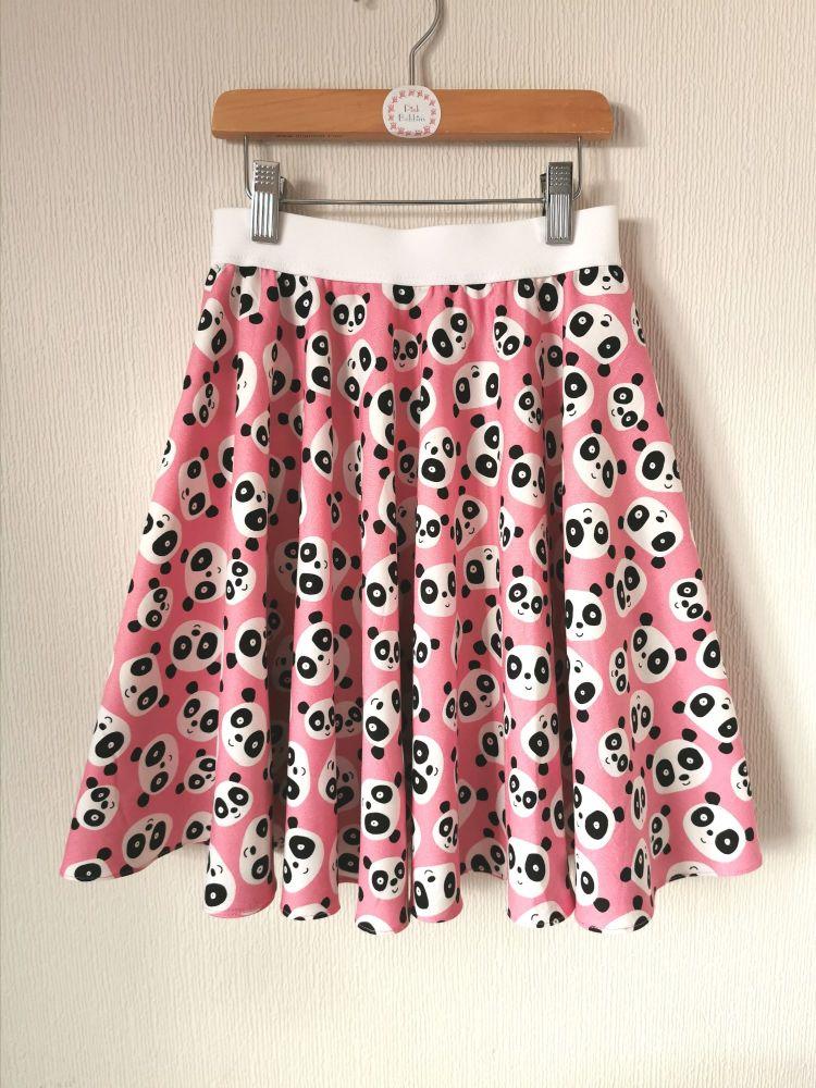 Pink panda circle skirt - made to order