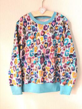Colourful leopard print sweatshirt/hoodie - made to order