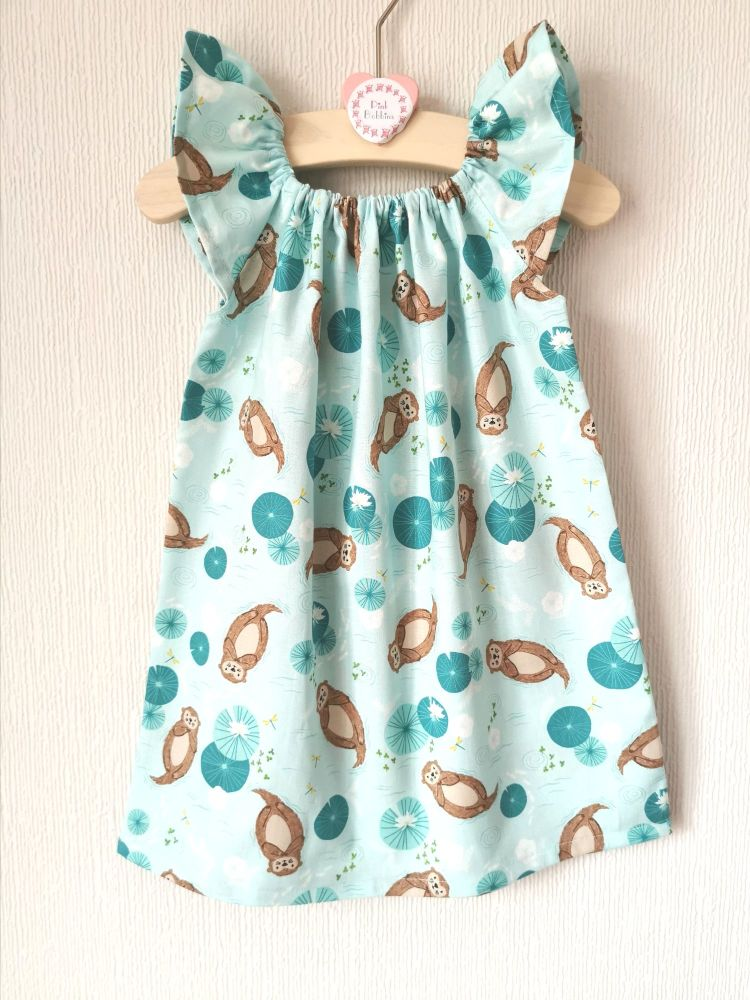 Otter angel sleeve dress - made to order