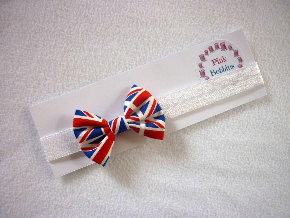 Union jack bow elastic headband - made to order