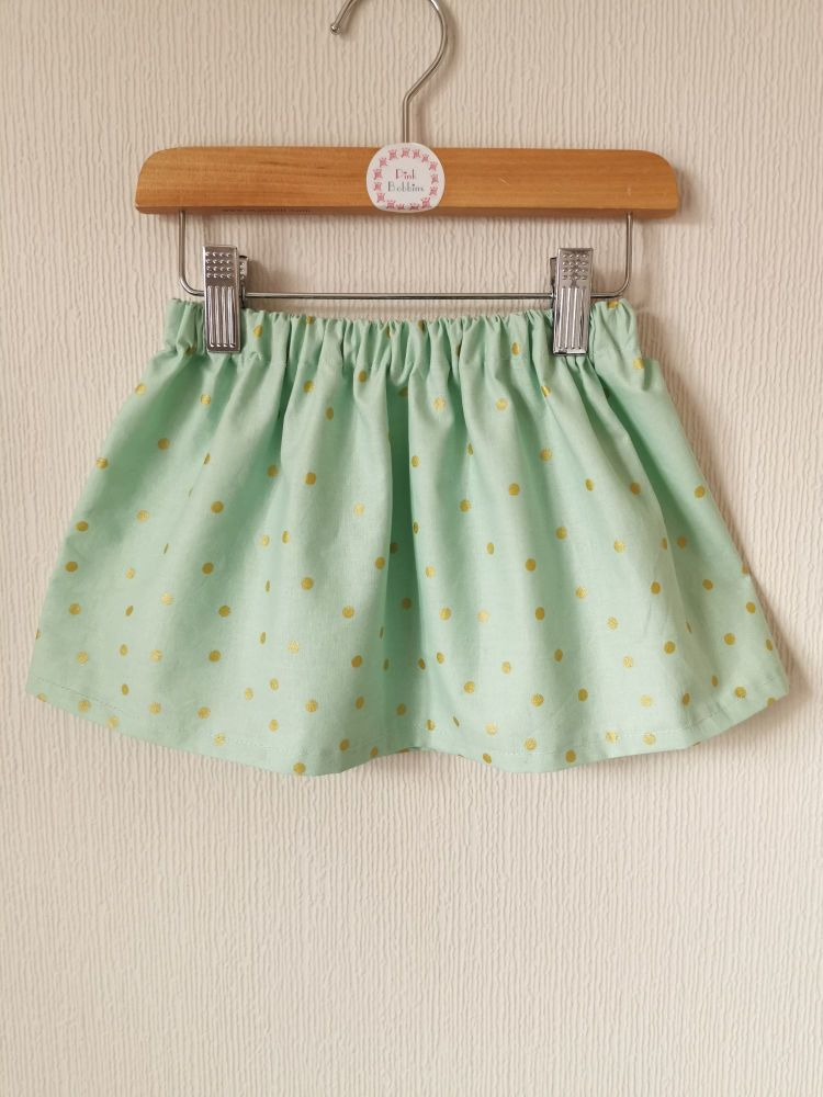 Mint and gold polka dot skirt - in stock