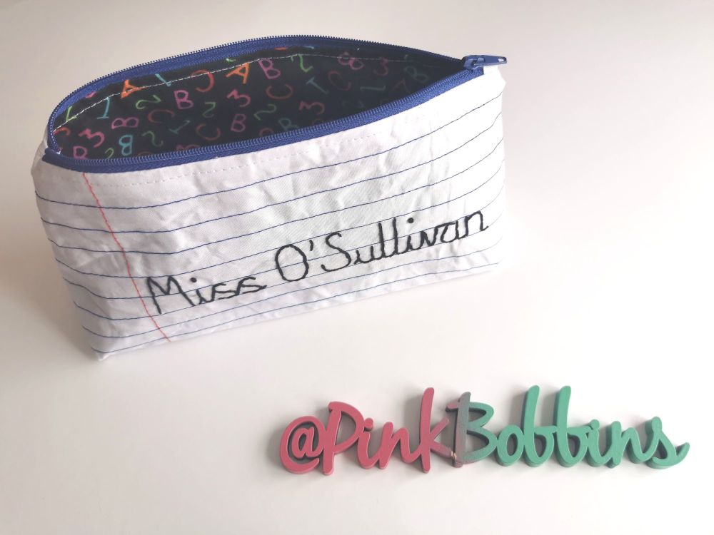 Personalised teacher pencil case - made to order