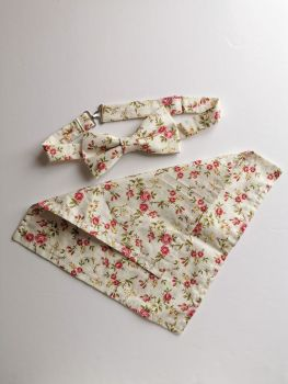 Men's floral bow tie and pocket square set - in stock