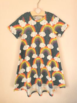 Rainbows on teal t-shirt dress - made to order
