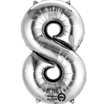 Silver Giant Number 8 Balloon