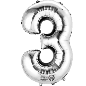 Silver Giant Number 3 Balloon