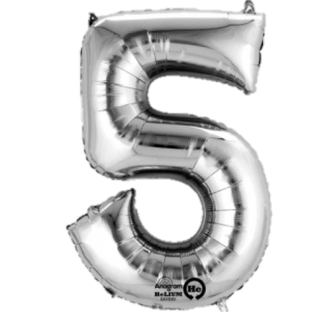 Silver Giant Number 5 Balloon