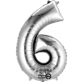 Silver Giant Number 6 Balloon