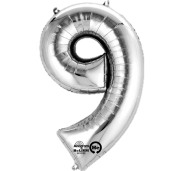 Silver Giant Number 9 Balloon