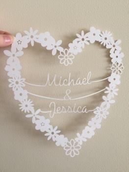 Medium Flower Heart Ring - Two Names