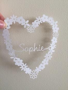 Small Flower Heart Ring - Custom Name