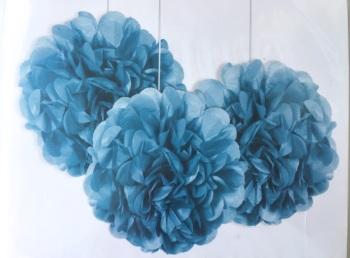 Light Blue Pom Poms - 3